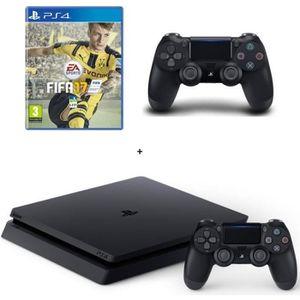 CONSOLE PS4 NOUVEAUTÉ Nouvelle PS4 Slim Noire 500 Go + FIFA 17 + 2e Mane