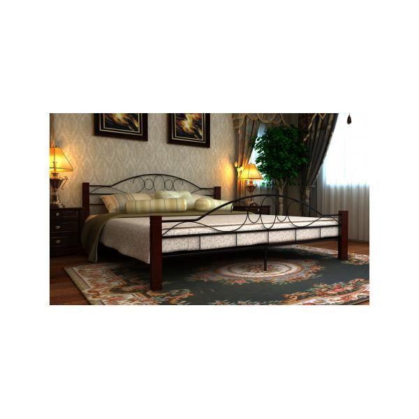 lit m tal et bois 180 x 200 cm sans matelas achat. Black Bedroom Furniture Sets. Home Design Ideas