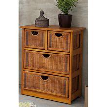 Meuble bas 4 tiroirs lagune miel achat vente petit meuble rangement meuble bas 4 tiroirs for Petit meuble bas salon