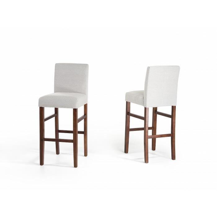 Chaises de bar lot de 2 chaises en tissu blanc madison achat vente - Cdiscount chaise de bar ...