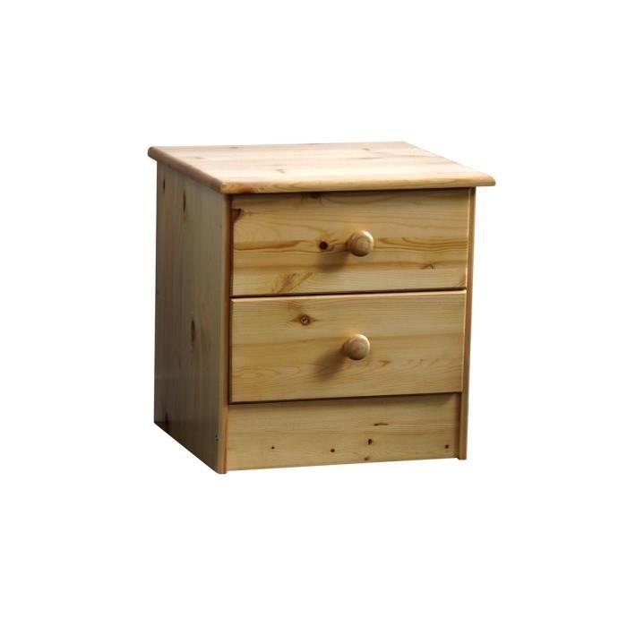 Table de chevet 2 tiroirs en pin naturel owen achat for Meubles en pin naturel