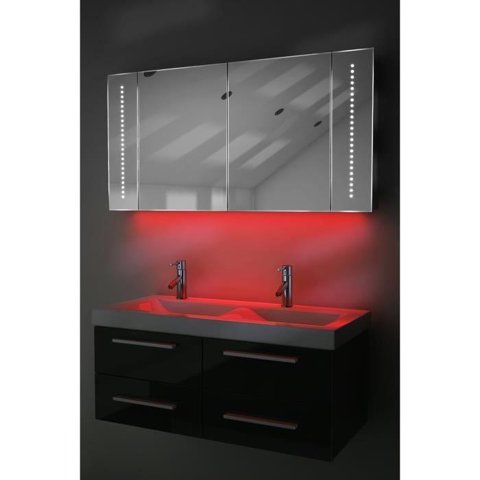 Armoire de salle de bain miroir ambiant capteur et for Comdistance prise salle de bain