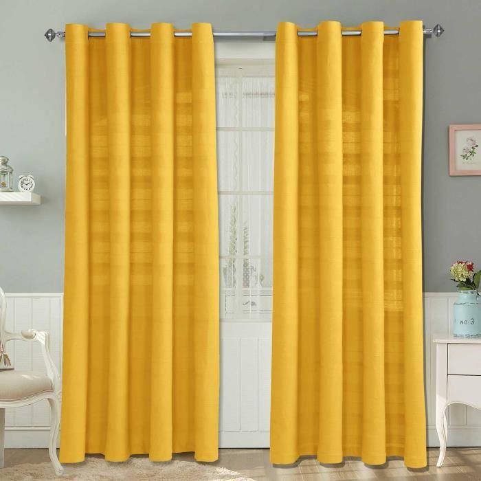paire de rideaux oeillets rajput nervur jaune 167 x 182 cm achat vente rideau cdiscount. Black Bedroom Furniture Sets. Home Design Ideas