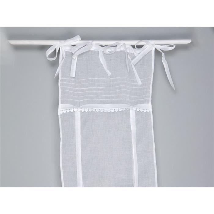simla rideau store voilage blanc monet simla blanc 45 x 160 cm achat vente rideau. Black Bedroom Furniture Sets. Home Design Ideas