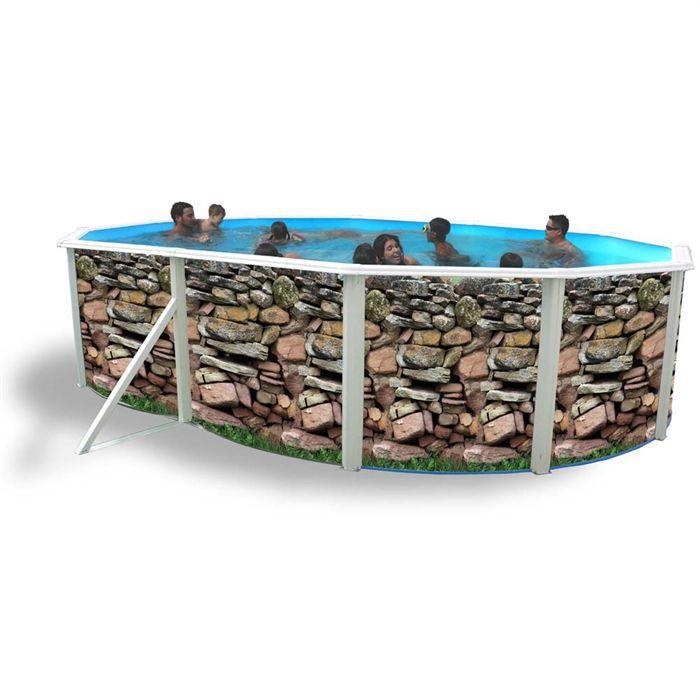 muro piscine acier ovale 550x366x120cm achat vente kit. Black Bedroom Furniture Sets. Home Design Ideas