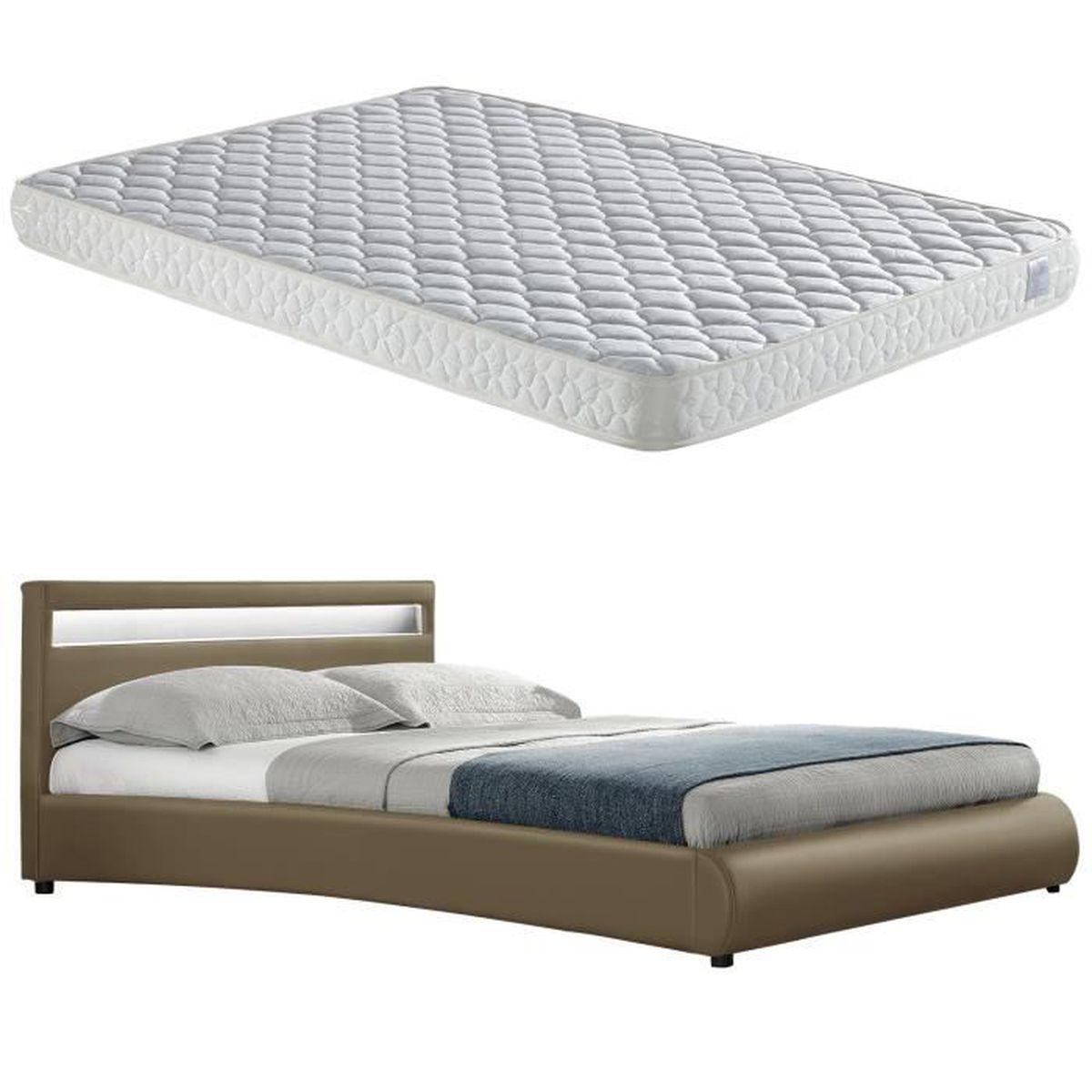 lit capitonn led de corium 39 miami 39 avec matelas. Black Bedroom Furniture Sets. Home Design Ideas