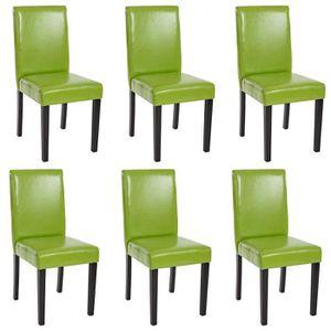 CHAISE Lot de 6 chaises de séjour Littau, PU, vert, pieds