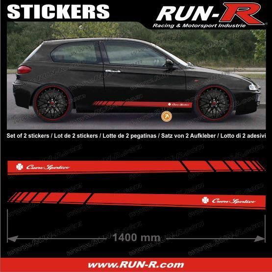 2 stickers alfa romeo 140 cm rouge lettres bl achat vente stickers cdiscount. Black Bedroom Furniture Sets. Home Design Ideas