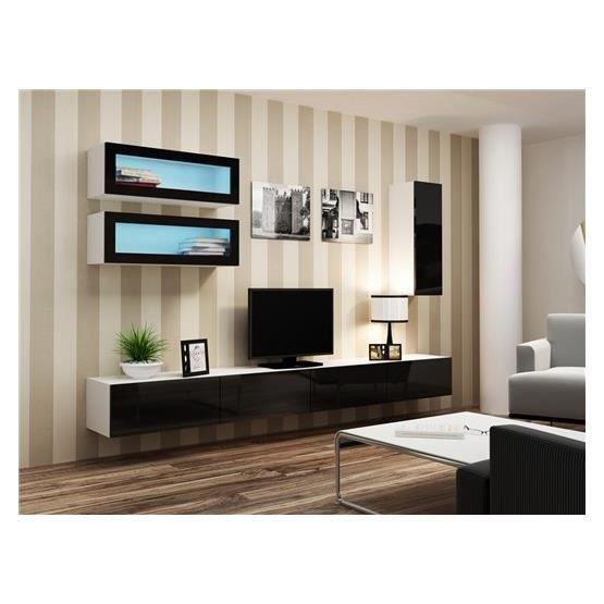 Meuble tv design suspendu bino blanc et noir achat for Meuble salon blanc et noir