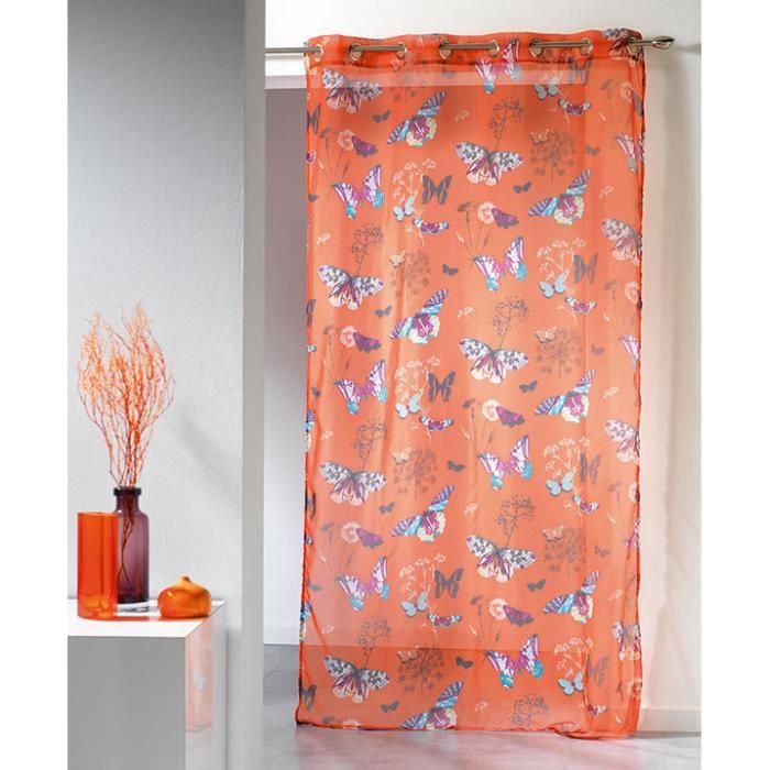 voilage oeillets 140x240 nova imprim orange achat vente rideau cdiscount. Black Bedroom Furniture Sets. Home Design Ideas