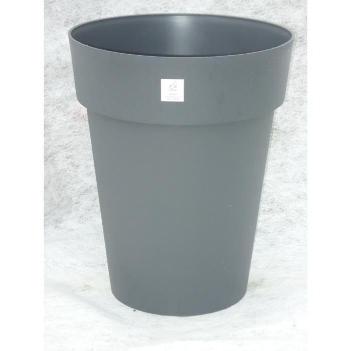 Vase toscane diam 44 hauteur 53 gri anthracite achat for Jardiniere hauteur 1 metre