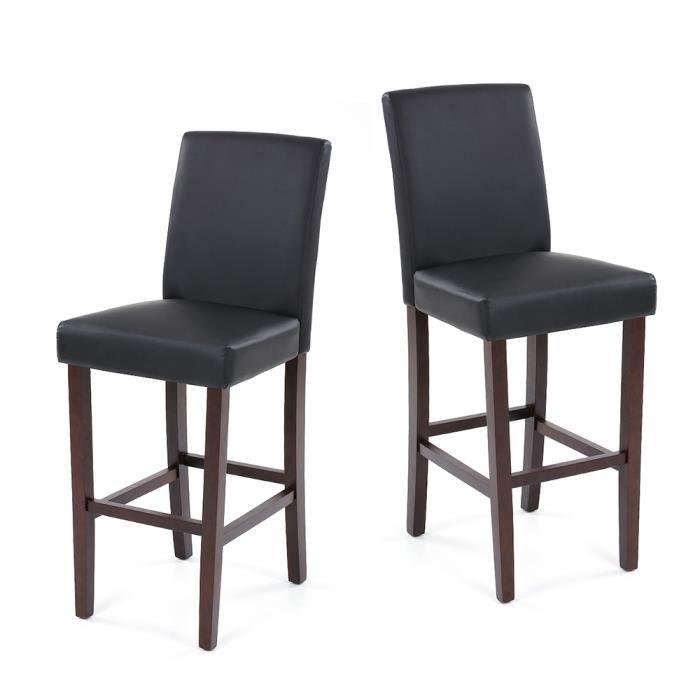 Ikayaa 2pcs chaises moderne faux cuir noir pour d ner bar for Chaise pour salle a diner