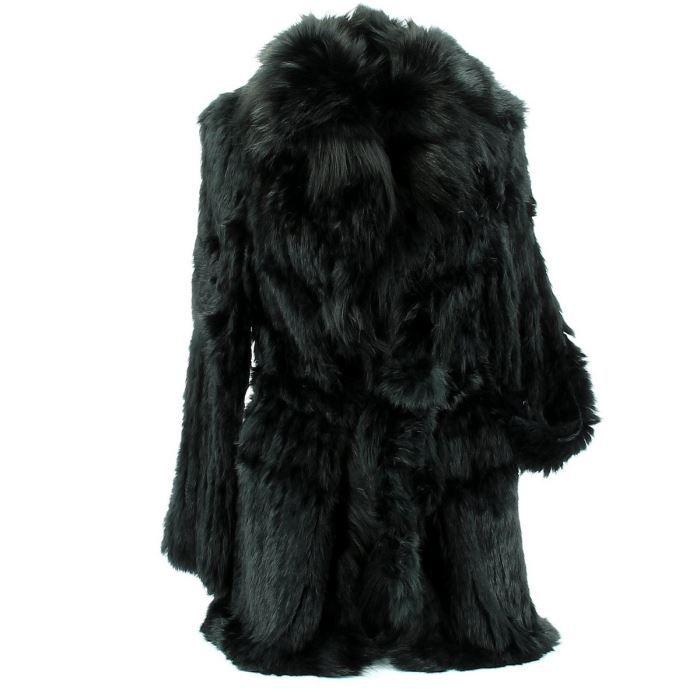 manteau grand col fourrure eleva noir noir achat. Black Bedroom Furniture Sets. Home Design Ideas