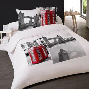 housse de couette london achat vente housse de couette london pas cher cdiscount. Black Bedroom Furniture Sets. Home Design Ideas