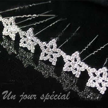 barrette chouchou pic chignon epingle cheveux mariage etoile cristal - Epingle Cheveux Mariage