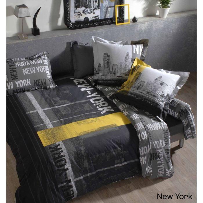 Housse de couette new york coton 260x240 achat vente for Housse de couette new york