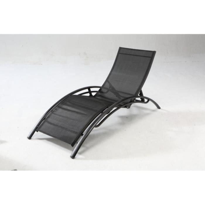 grey noir transat textil ne achat vente chaise longue grey noir transat textil ne. Black Bedroom Furniture Sets. Home Design Ideas