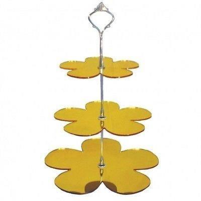 Marguerite jaune miroir acrylique 3 niveaux stand g teau for Miroir acrylique incassable