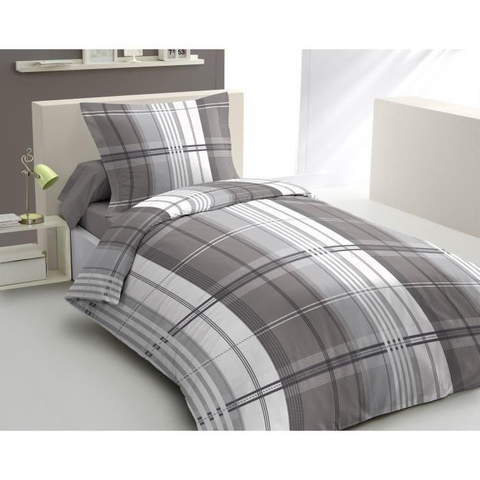 housse de couette pastel 140x200cm gris achat vente. Black Bedroom Furniture Sets. Home Design Ideas