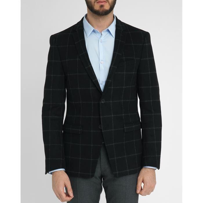 Veste noire laine carreaux fondus willy pour homme noir for Veste a carreaux homme