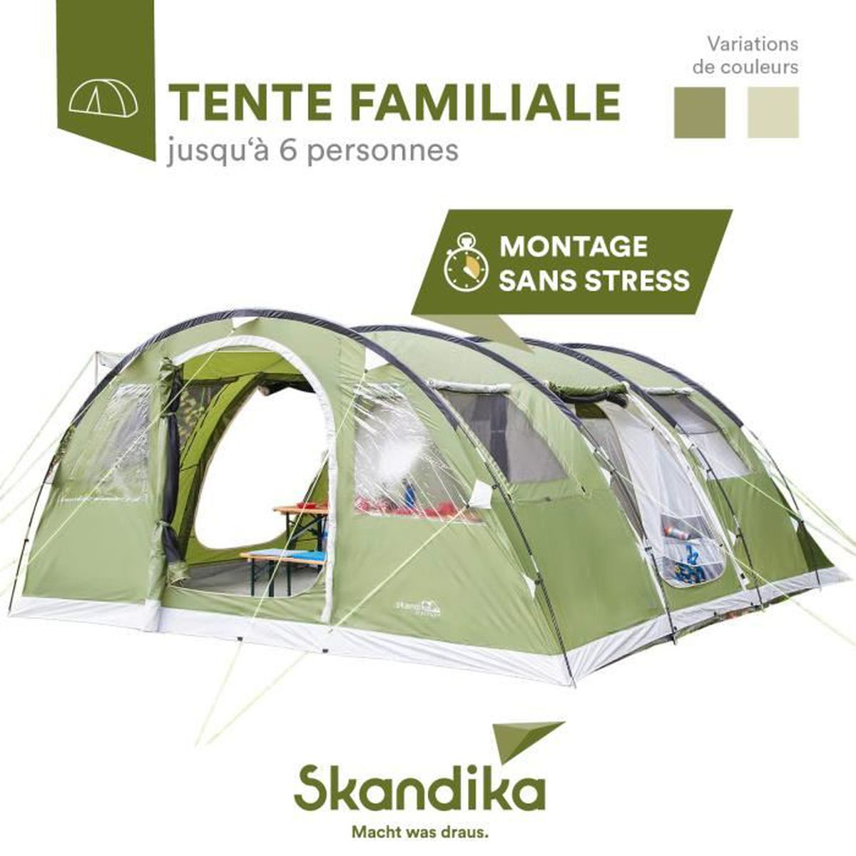 skandika gotland 6 tente camping 6 personnes 540 x 450 cm vert prix pas cher soldes. Black Bedroom Furniture Sets. Home Design Ideas