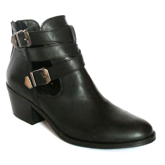 chaussures d 39 ete bottines low boots femme cuir noir t 41 noir achat vente bottine. Black Bedroom Furniture Sets. Home Design Ideas