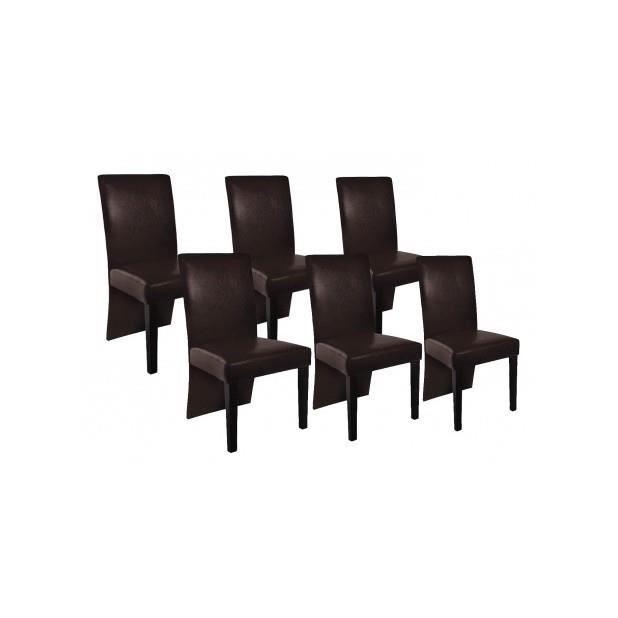 Superbe chaise design bois marron lot de 6 achat for Lot de 6 chaises design
