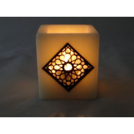 photophore oriental en cire carre beige arabesq achat vente photophore lanterne bois. Black Bedroom Furniture Sets. Home Design Ideas