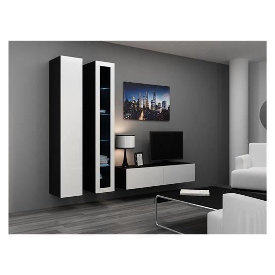 Meuble tv design suspendu vidi noir et blanc achat for Meuble suspendu noir