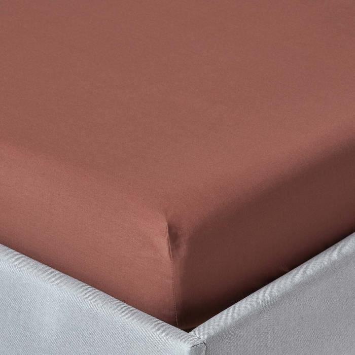 Drap housse chocolat 100 coton gyptien 200 fils 90 x 190 for Drap housse coton egyptien