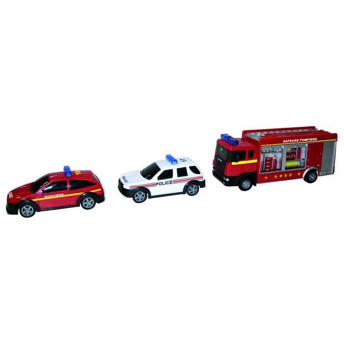 camion de pompiers avec tuyaux et voitures de s achat vente voiture camion cdiscount. Black Bedroom Furniture Sets. Home Design Ideas