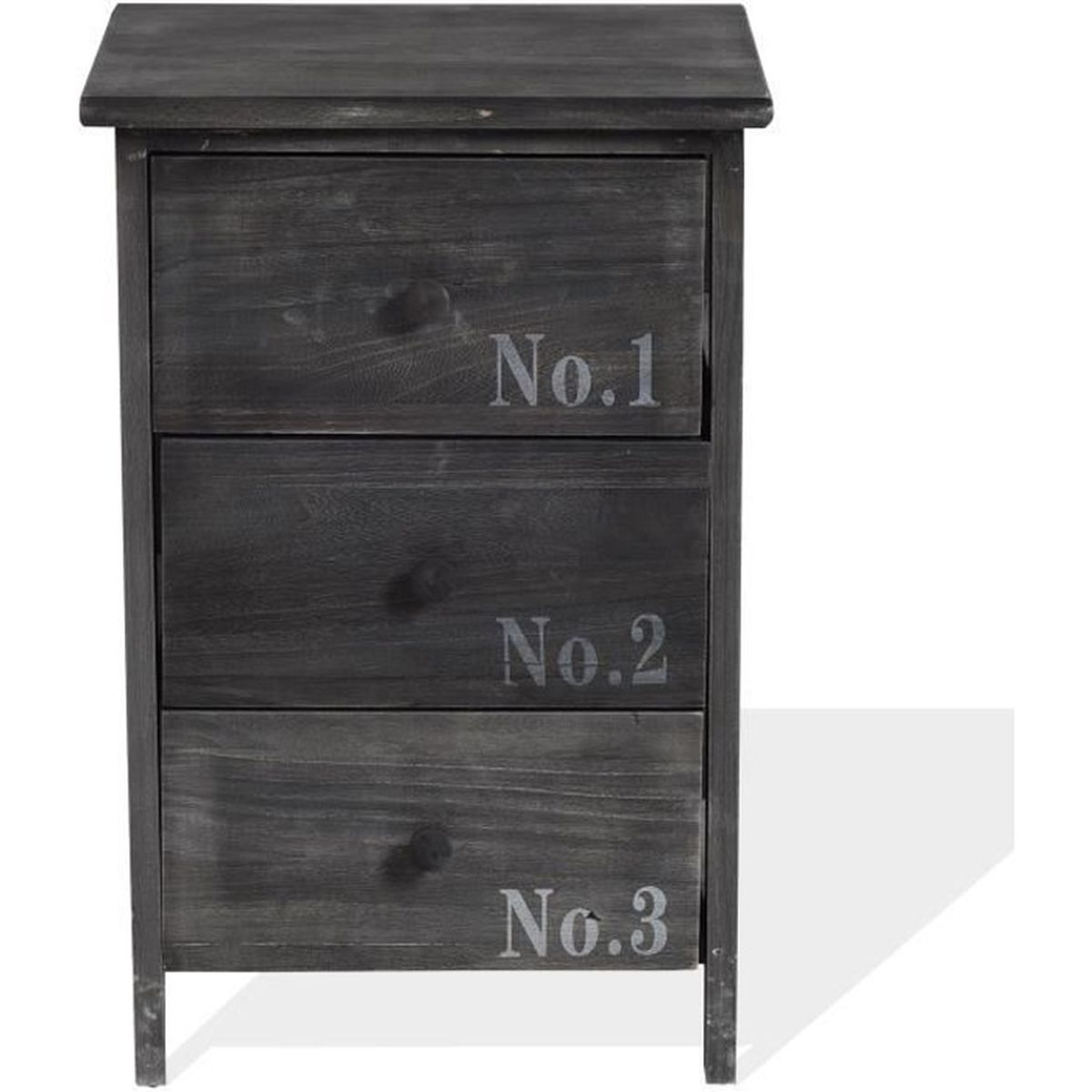 rebecca commode table de chevet 3 tiroirs bois gris vintage country chambre bain achat vente. Black Bedroom Furniture Sets. Home Design Ideas