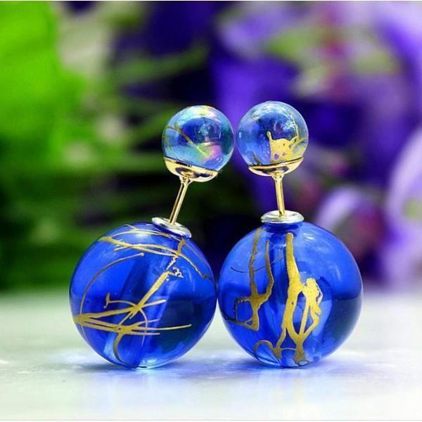 boucles d 39 oreilles double boule original bleu roi achat vente boucle d 39 oreille boucles d. Black Bedroom Furniture Sets. Home Design Ideas