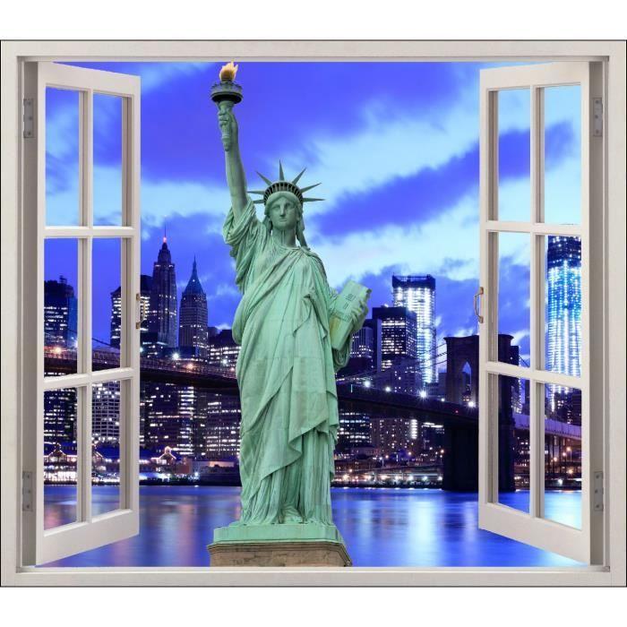 Sticker fenêtre déco Statue de la liberté réf 5416 Dimensions