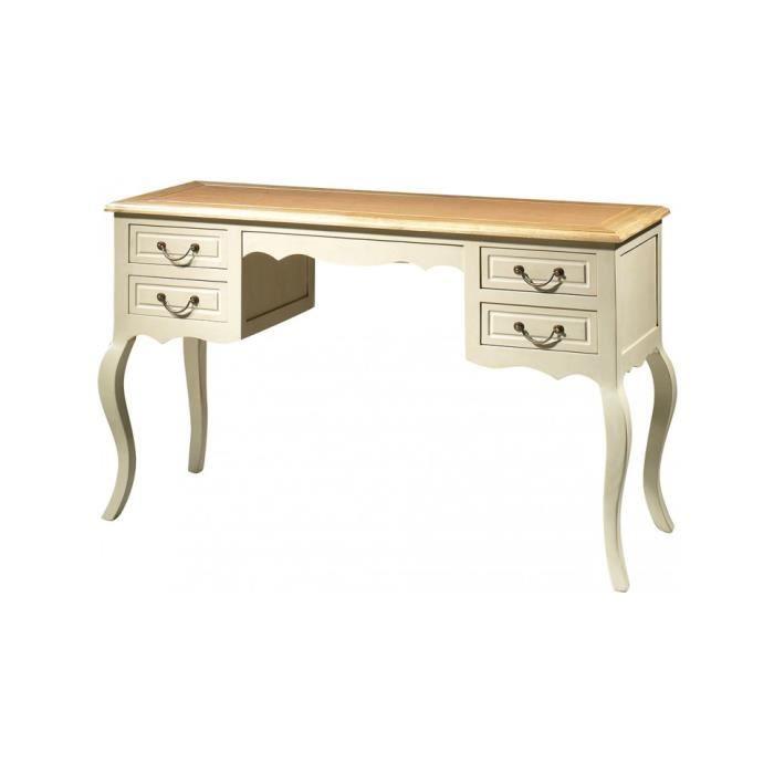 Bureau h tre laque blanc 4 tiroirs pieds galb s achat for Meuble bureau hetre