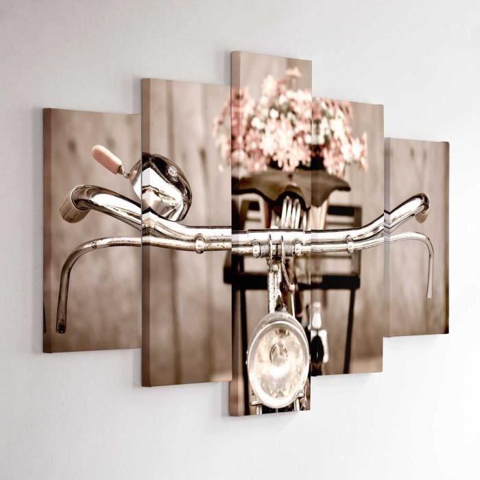 tableau d co multi panneaux 100x150 velo vintage achat vente tableau toile cdiscount. Black Bedroom Furniture Sets. Home Design Ideas