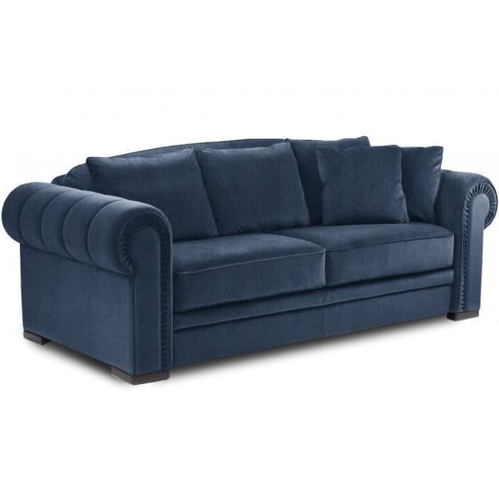 canap chesterfield convertible rapido lampolet 140 200 cm tissu tweed bleu achat vente. Black Bedroom Furniture Sets. Home Design Ideas