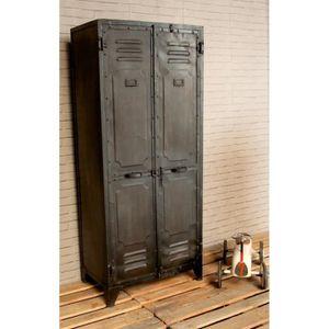 Vestiaire industriel noir achat vente meuble d 39 entr e vestiaire indus - Meuble d entree industriel ...