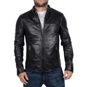 veste cuir homme noir motard achat vente veste cuir. Black Bedroom Furniture Sets. Home Design Ideas