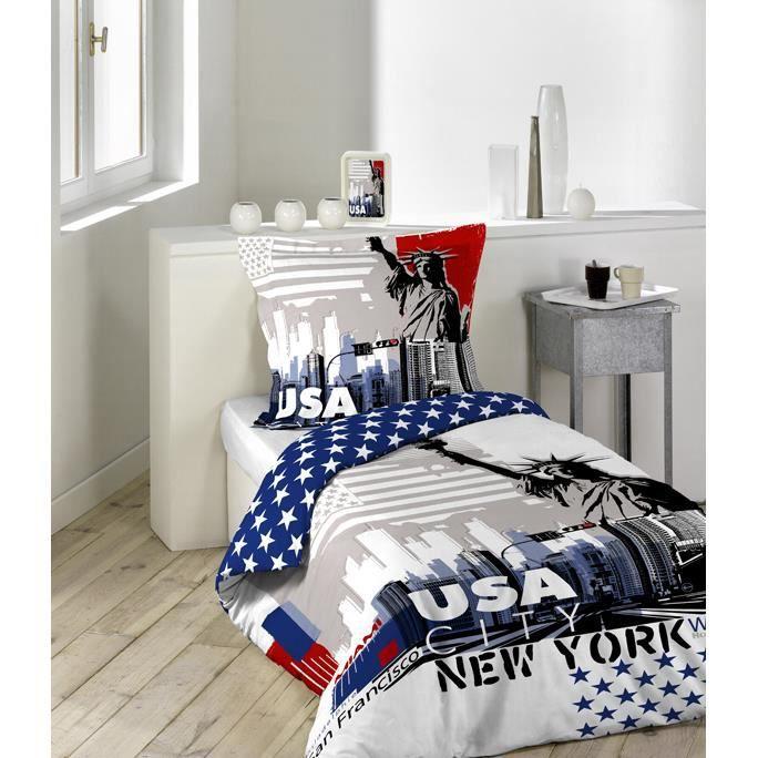 parure de lit 2 pi ces 140x200 usa city achat vente parure de drap cdiscount. Black Bedroom Furniture Sets. Home Design Ideas