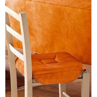 Galette de chaise 4 rabats beton cire abricot achat for Galette de chaise 4 rabats