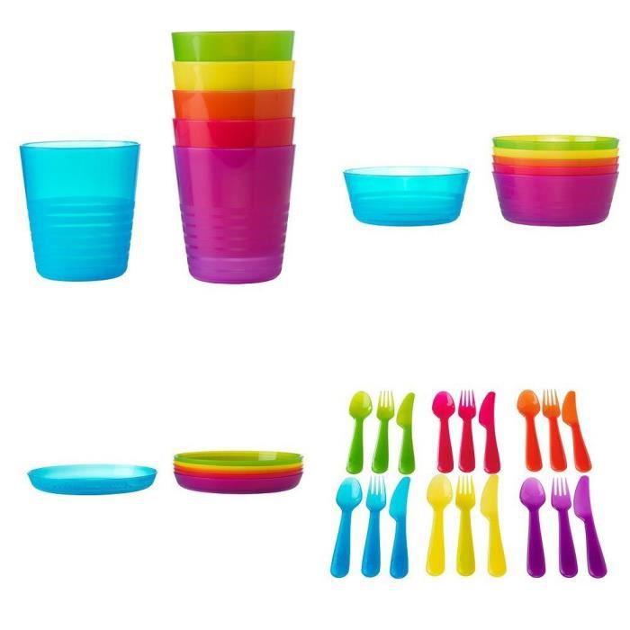 Ikea kalas lot de 36 accessoires en plastique pour enfant sans bisph nol ac - Ikea assiette plastique ...
