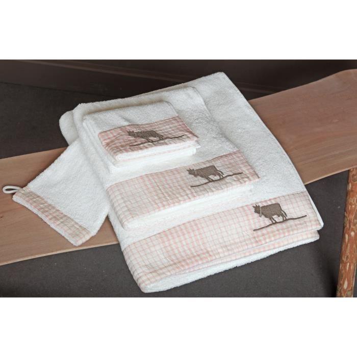 Lot de 2 grandes serviettes de bain roses 39 alpage 39 achat vente serviettes de bain cdiscount - Lot de serviette de bain destockage ...