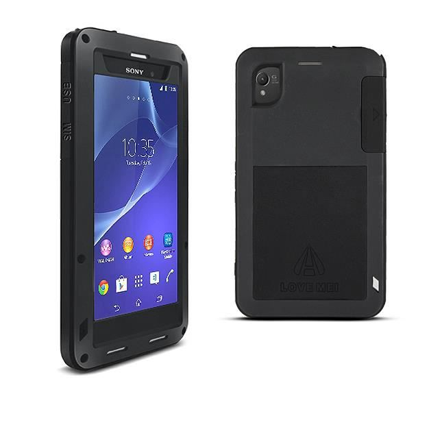telephonie accessoires portable gsm coque anti choc noire lovemei pour sony xperia z f  auc