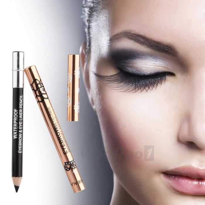 eyeliner crayon noir yeux maquillage 14cm avec brosse. Black Bedroom Furniture Sets. Home Design Ideas