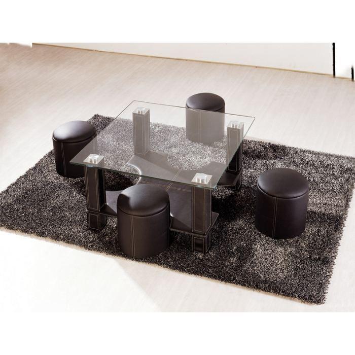 Table basse carr e avec poufs gila en verre e achat vente table basse - Table basse carree avec pouf ...