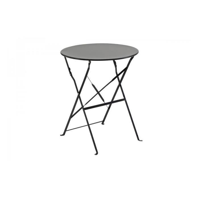 Table Metal Pliante Ronde Noir Camargue Hesperide Achat Vente Table De Jardin Table Ronde