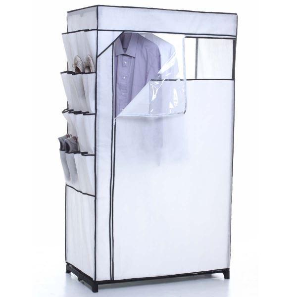 armoire de rangement penderie coloris blanc achat vente armoire de chambre armoire de. Black Bedroom Furniture Sets. Home Design Ideas