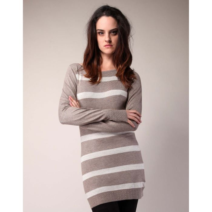 Robe pull rayée TAUPE TAUPE Achat   Vente robe Robe pull rayée eab0bbe08ca2