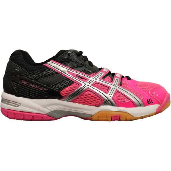 chaussures asics gel rocket 6 femme bleu/rose